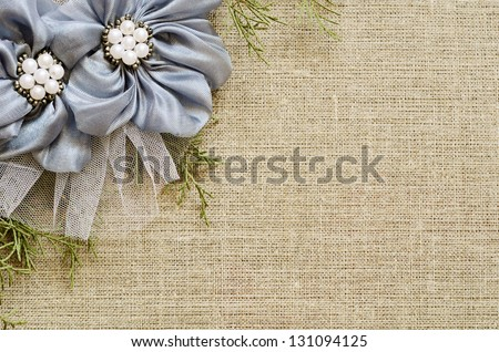 Background with a flower arrangement on canvas - stock photo