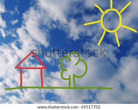 background with a house designed - stock photo