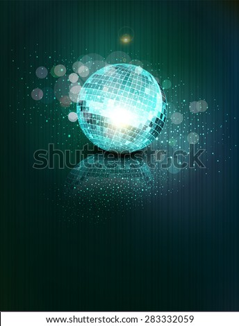 background with a mirror ball and reflection - stock photo