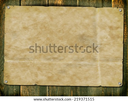 Background with a piece of old paper on boards. Plenty of space for any text. Raster.  - stock photo