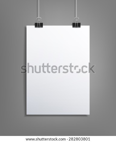 background with a piece of paper hanging on the wall (element for design, template) - stock photo