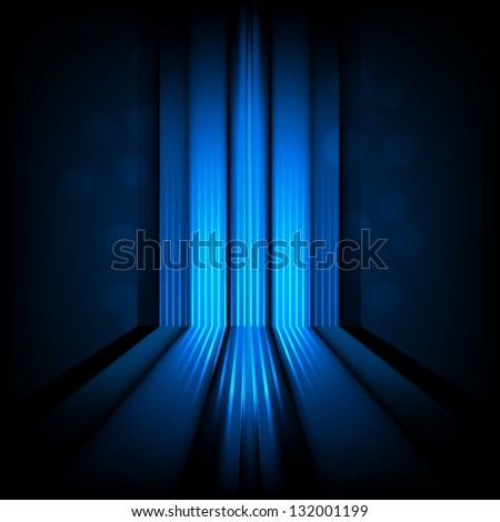 background with abstract lines of blue light - stock photo