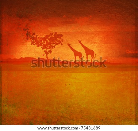 background with African fauna and flora - stock photo