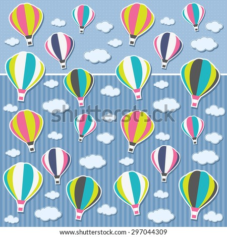 Background with air balloons and clouds. Raster version - stock photo