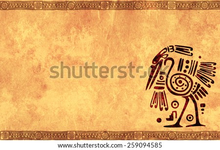 Background with American Indian national patterns and paper texture - stock photo