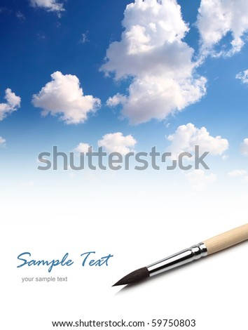 background with artists brush and blue sky - stock photo
