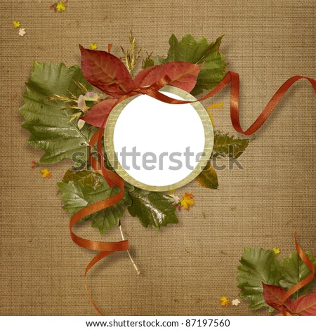 background with autumn leaves and frame for photo