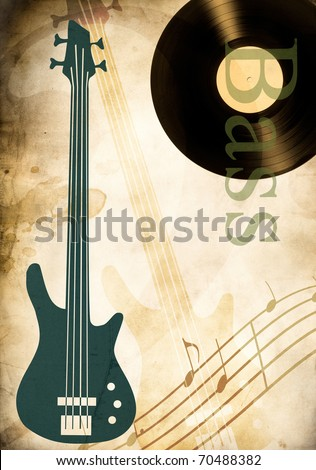 background with bass guitar and vinyl record