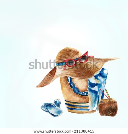 Background with beach bag, shoes, sunglasses and a coconut   - stock photo