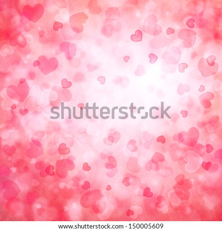 background with beautiful pink hearts - stock photo
