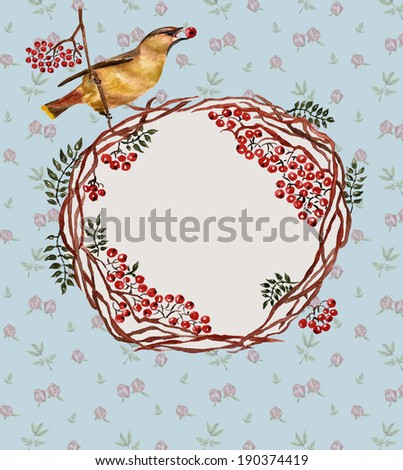 Background with bird, rowan