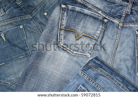 Background with blue jeans material - stock photo