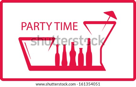 background with bottle, wineglass - party symbol  - stock photo