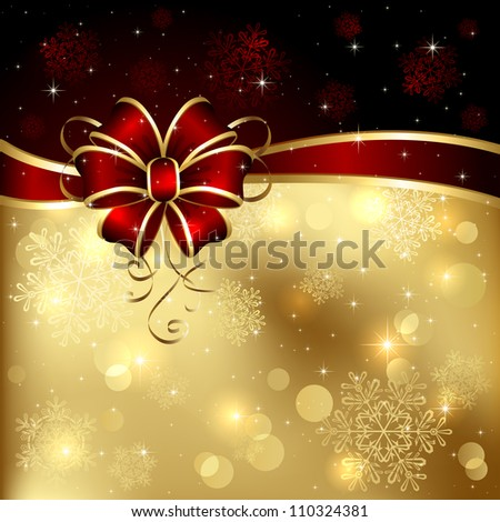 Background with bow, stars and blurry light, illustration. - stock photo