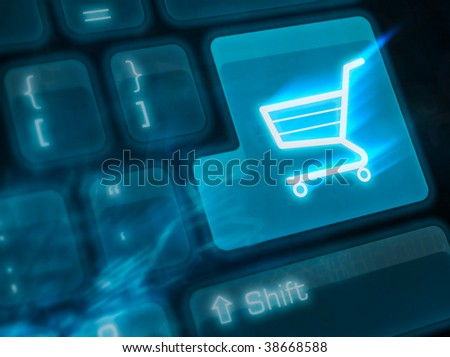 background with button for internet shopping - stock photo