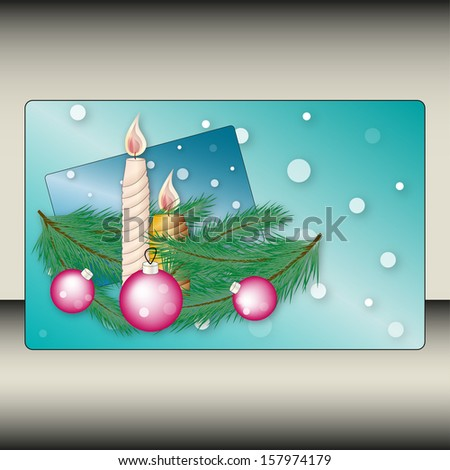background with candles and Christmas balls branches