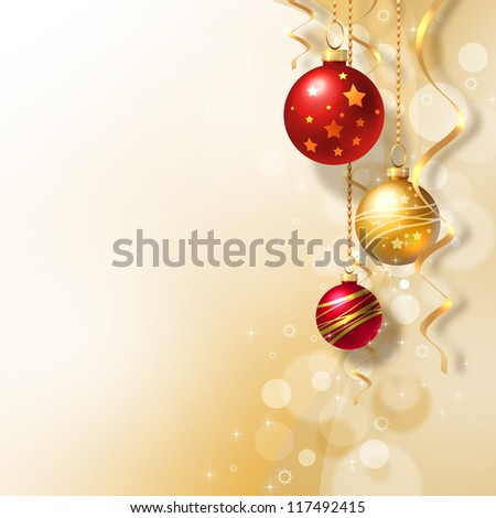Background with Christmas baubles and white snowflakes - stock photo