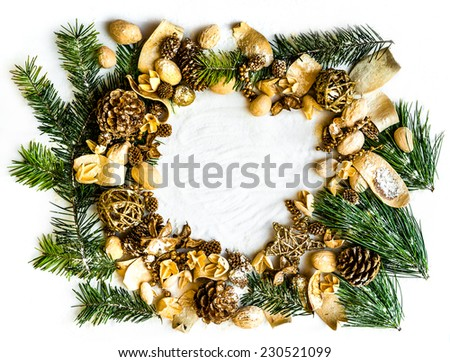 background  with Christmas decorations and pine twig - stock photo