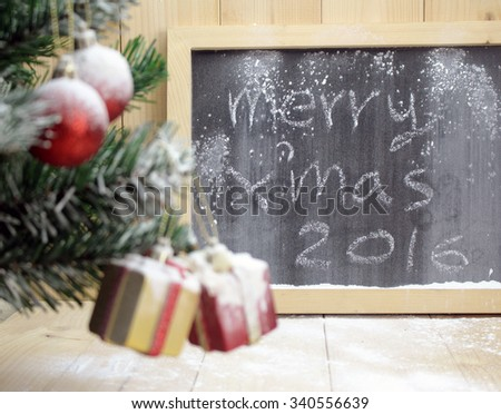 background with Christmas tree and cute gift boxes with bows - stock photo