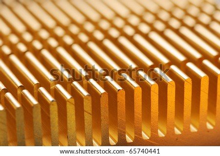 Background with closeup of heatsink on a motherboard