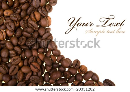 Background with coffee beans. copy space for your own text. Landscape orientation. - stock photo
