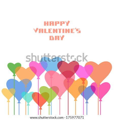 Background with color balloons of hearts. Valentine's Day, wedding decorative illustration - stock photo
