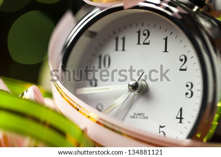 Background with color ribbons and clock - stock photo