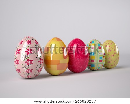 background with colored Easter Eggs, 3d illustration - stock photo