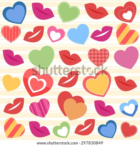 Background with colorful hearts and lips. Raster version - stock photo