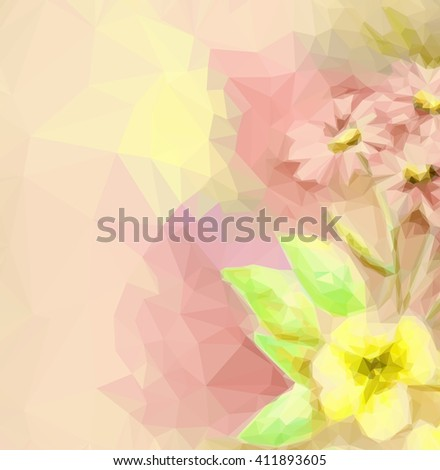 Background with Colorful Low Poly Floral Pattern.  - stock photo
