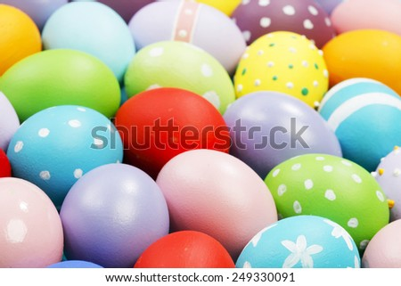 Background with colorful painted Easter eggs - stock photo