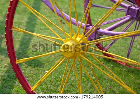 Background with colorful wheels. - stock photo