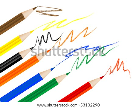 Background with coloured pencils - stock photo