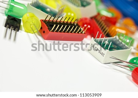 Background with components of electronics - LED, transistors, etc. Close-up - stock photo