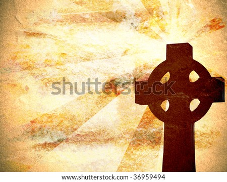 Background with cross and grungy texture - stock photo