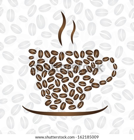 Background with cup of hot coffee, consisting of coffee beans. Raster version. - stock photo