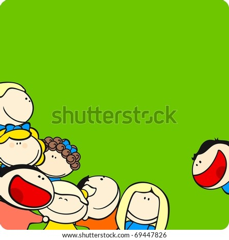 Background with cute cartoon kids (raster version) - stock photo