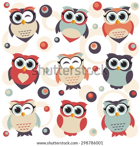 Background with cute owls. Raster version  - stock photo