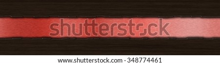 Background with dark wood over red brushed metal with copy space