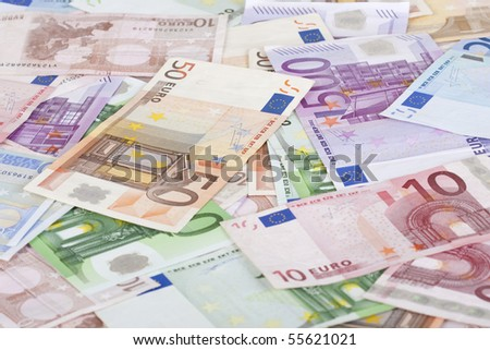 Background with different european union banknotes. - stock photo