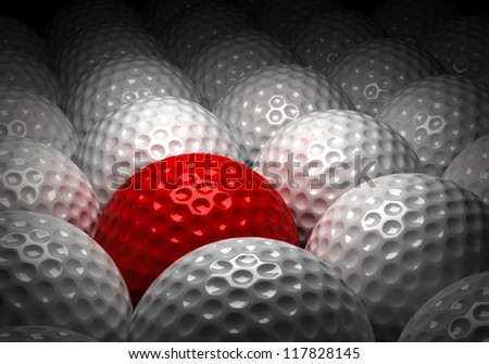 Background with Different Golf Ball (Computer generated image) - stock photo