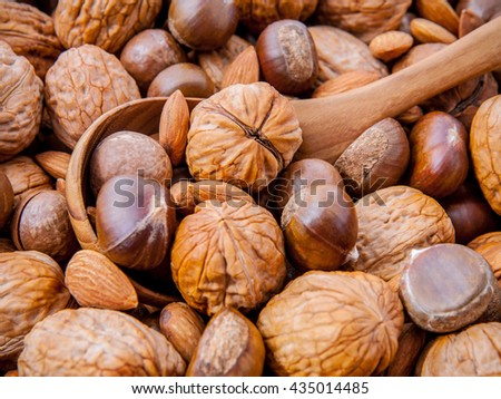 Background with different kinds of nuts  walnuts kernels ,macadamia,hazelnut, and almond with wooden spoon. Selective focus depth of field. - stock photo