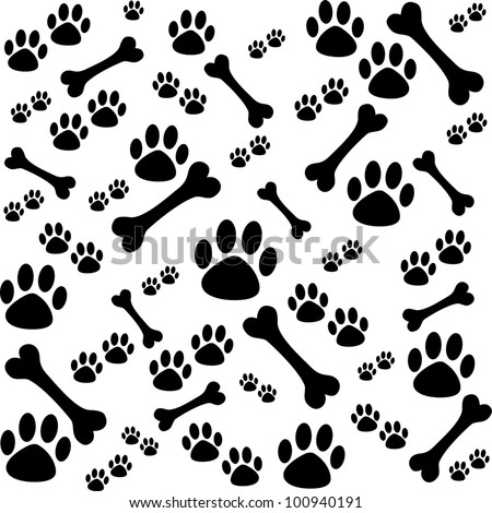 Background dog paw print bone illustration 100940191 background with dog paw print and bone illustration voltagebd Gallery