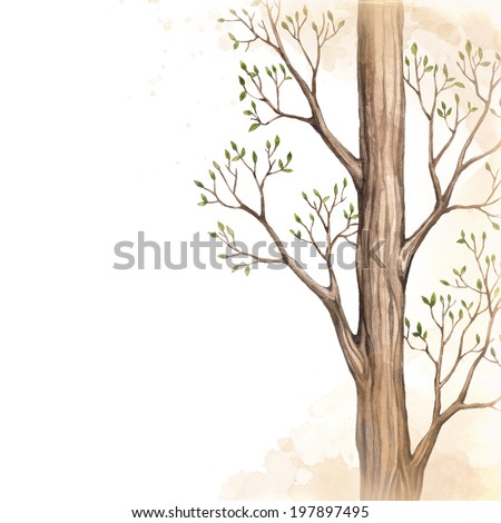 Background with drawing of tree