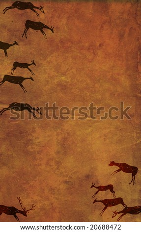 Background with drawings of the primitive person - stock photo