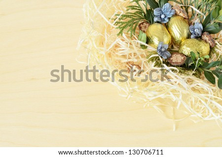 Background with Easter eggs in the nest - stock photo