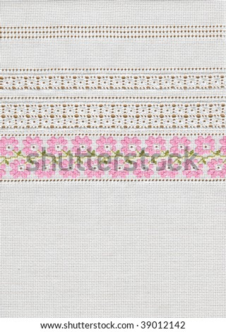 background with embroidery, cross-stitch, grid, floral pattern - stock photo