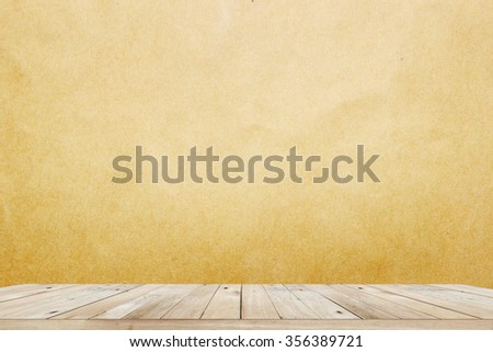 Background with empty wooden deck table over wall