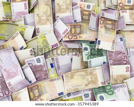 Background with Euro Money Banknotes - stock photo