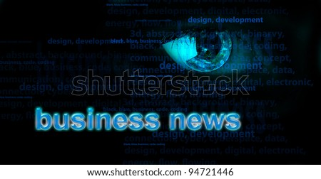 Background with eye and words - internet concept - stock photo